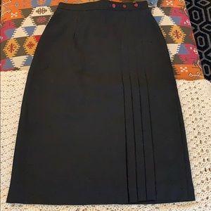 Vintage Black Pleated Pencil Skirt